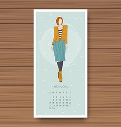 February hand drawn fashion models calendar 2016 vector