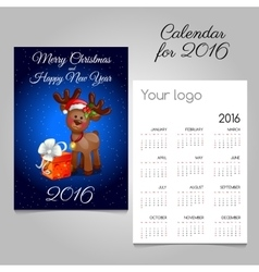 Two-sided calendar 2016 with deer toy and gift box vector