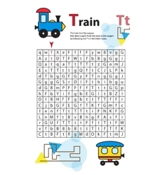 Letter maze t this worksheet helps kids recognize vector