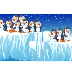 Funny penguins cartoon family with snow mountain vector