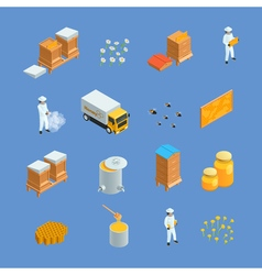 Beekeeping apiary isometric icons set vector