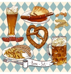 Beer set with beer glasses pretzel sausages vector