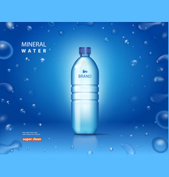 bottle with clean mineral water on blue background vector image vector image