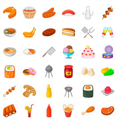 Buffet icons set cartoon style vector