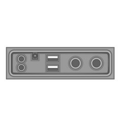 Cable connection panel icon monochrome vector
