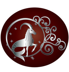Capricorn zodiac sign in circle frame vector