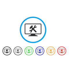 Desktop settings rounded icon vector