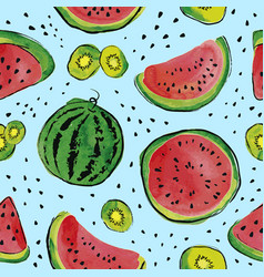 fruit watercolor pattern vector image vector image
