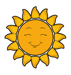 Isolated yellow sun face vector
