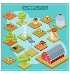 Isometric farm icon set vector