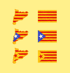 map and flags of catalonia vector image vector image