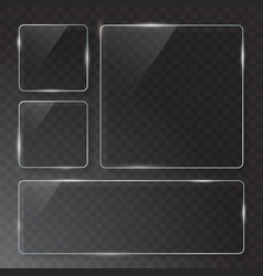 Modern transparent glass plates set on vector