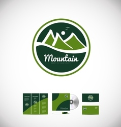 Mountain drawing logo badge icon design vector image vector image
