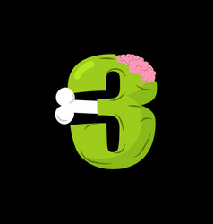 number 3 zombie monster font three bones and vector image vector image