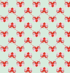 Pattern by valentines day with cute cartoon sloth vector