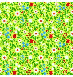Seamless pattern bright spring flowers vector