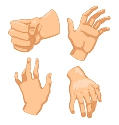 Set of human hands on white background vector image