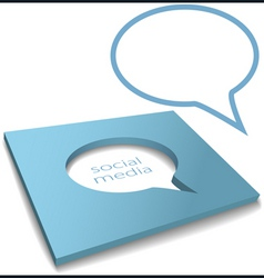 social media speech bubble box cut out vector image vector image
