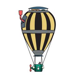 steampunk colorful hot air balloon vector image