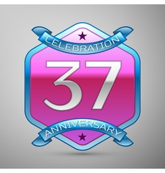 Thirty seven years anniversary celebration silver vector