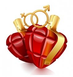 Two grenade hearts vector
