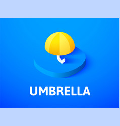 Umbrella isometric icon isolated on color vector