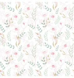 Vintage floral seamless pattern with flowers drawn vector image vector image