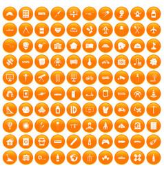 100 development icons set orange vector