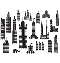 silhouette of perspective city buildings vector image