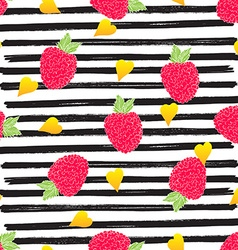 Raspberry hand drawn sketch striped seamless vector