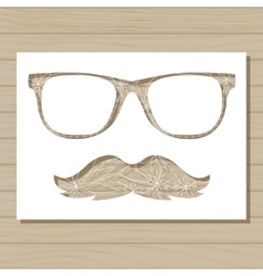 stencil template of glasses and moustache on vector image