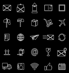Post line icons on black background vector