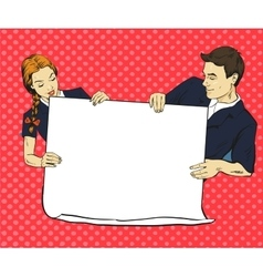 School boy and girl hold blank white paper poster vector
