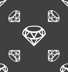 Diamond icon sign seamless pattern on a gray vector