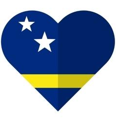 Curacao flat heart flag vector image
