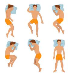 man sleep positioning isolated on white background vector image