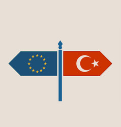 relationships between turkey and european union vector image