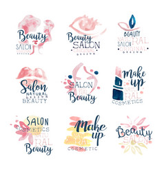 beauty salon logo design set of colorful hand vector image
