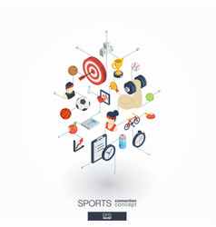 Sport integrated 3d web icons digital network vector