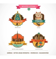 World Cities labels - Marrakesh Tokio Astana Dubai vector image