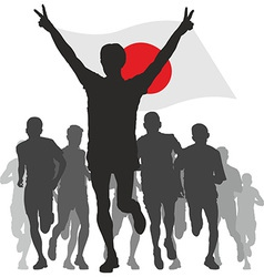 Winner with the Japan flag at the finish vector image