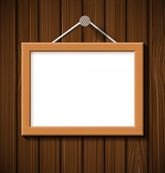 Wooden frame on the background of brown wall vector