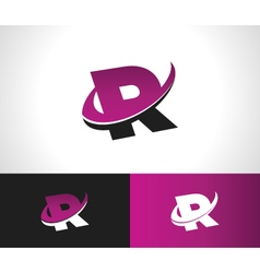 Swoosh alphabet icon r vector