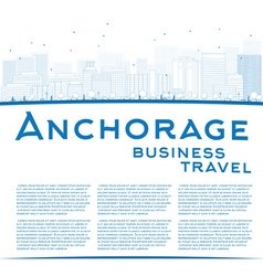 Outline anchorage alaska skyline vector
