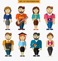 Set of professions meteorologist musician vector