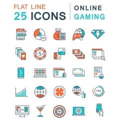 Set flat line icons online gaming vector