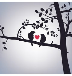 Spring birds on a tree vector