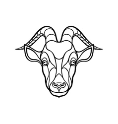 Goat head coloring silhouette on white background vector image