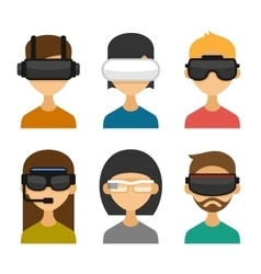 Avatars with virtual reality glasses icon set vector
