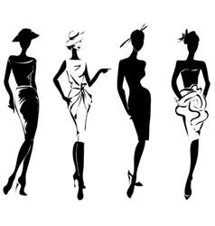 Black and white retro fashion models in sketch vector